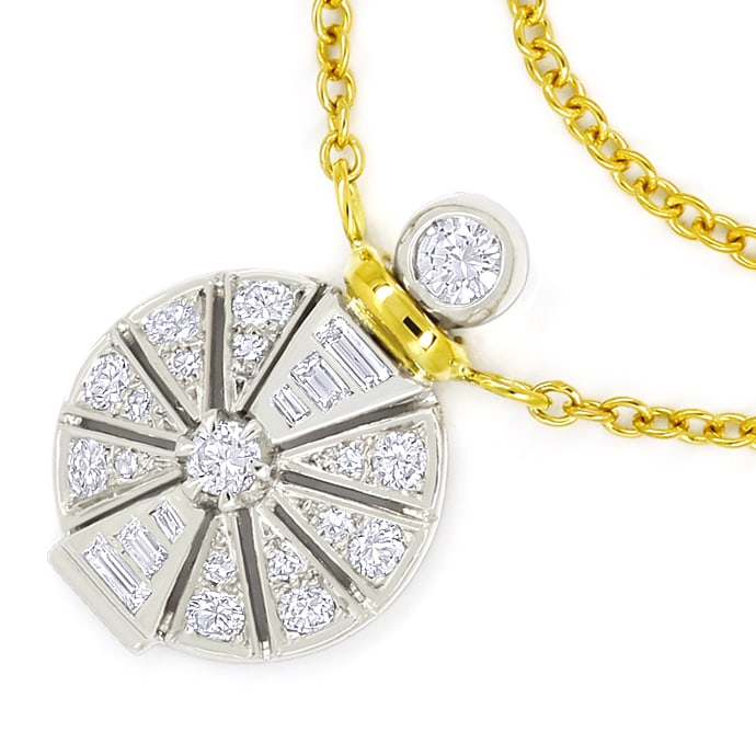 Foto 2, Designer Collier Platin Gold mit 0,89ct Diamanten, Q2398