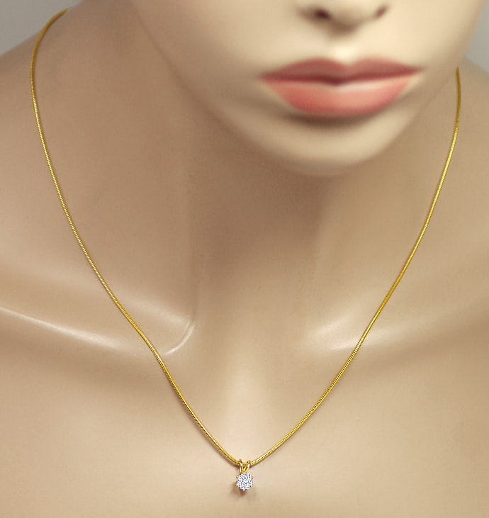 Foto 4 - Diamant Solitär oval 0,65ct Gelbgold Collier, Q2435
