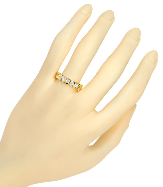 Foto 4, Allianzring Halbmemoryring 0,55ct Brillanten 18K Gold, Q2453