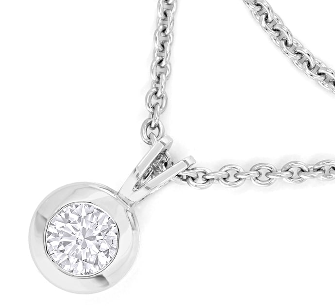 Foto 2 - Collier 0,32ct GIA 3ex Brillant in 950 Platin, Q2759