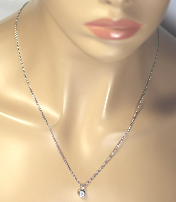 Foto 5 - Collier 0,32ct GIA 3ex Brillant in 950 Platin, Q2759