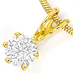 Gelbgold Brillant Collier 0,30ct Solitär GIA