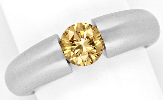 Foto 2, Brillant-Spannring 1,03ct Fancy Goldbraun 18K Weissgold, R1001