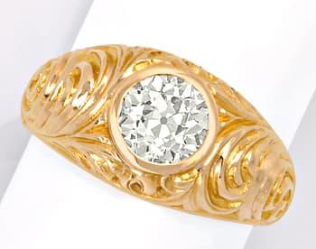 Foto 1, Zweikaraeter Diamant Ring VS1 Extrem massiv 18K Rotgold, R1006