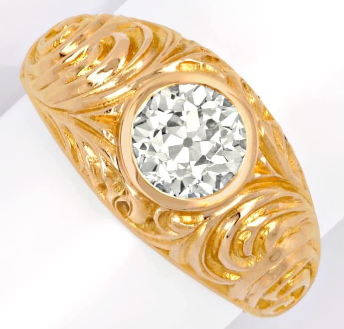 Foto 2, Zweikaraeter Diamant Ring VS1 Extrem massiv 18K Rotgold, R1006