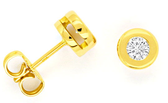 Foto 1, Diamantohrstecker Brillant Ohrringe 0,34ct 18K Gelbgold, R1025