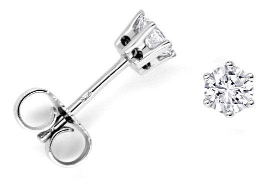 Foto 1, Diamanten Ohrstecker Ohrringe 0,51ct VVS2 18K Weissgold, R1032