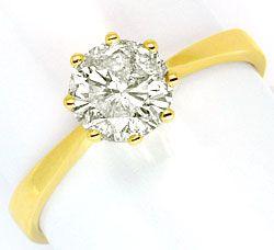 Foto 1, Ein Karäter Brillant Ring 1,017ct Diamant J P3 Gelbgold, R1035