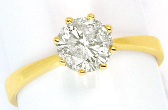 Foto 2, Ein Karäter Brillant Ring 1,017ct Diamant J P3 Gelbgold, R1035