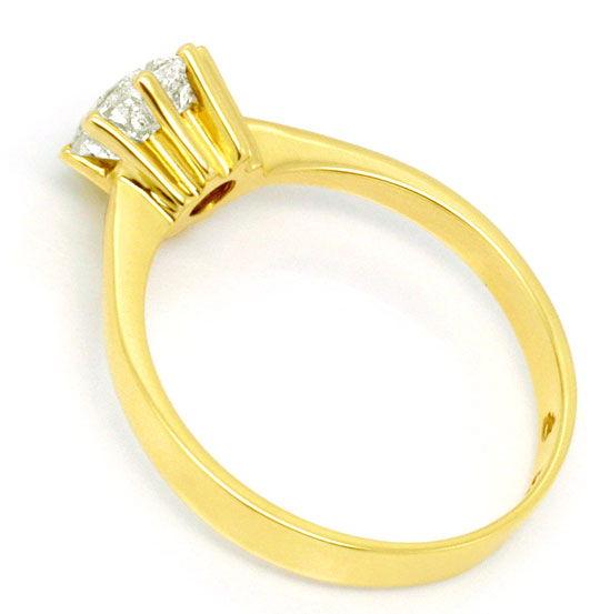 Foto 3, Ein Karäter Brillant Ring 1,017ct Diamant J P3 Gelbgold, R1035