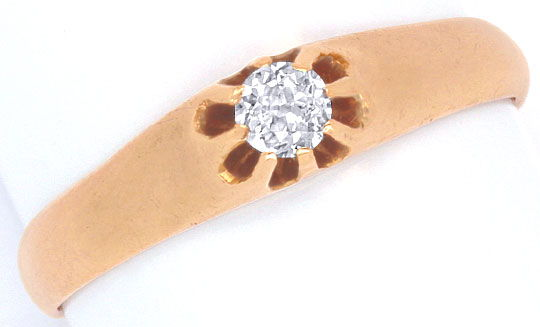 Foto 2, Antiker Diamant Bandring 18K Rotgold River D 0,23 Carat, R1037