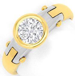 Foto 1, Design Diamantring 0,75 Brillant 18K Gelbgold Weissgold, R1038