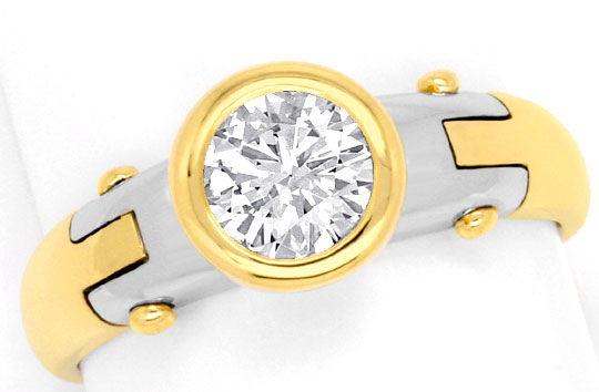 Foto 2, Design Diamantring 0,75 Brillant 18K Gelbgold Weissgold, R1038