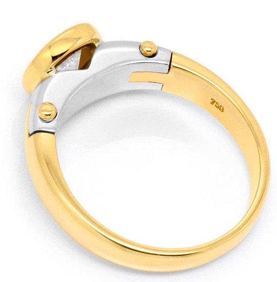 Foto 3, Design Diamantring 0,75 Brillant 18K Gelbgold Weissgold, R1038