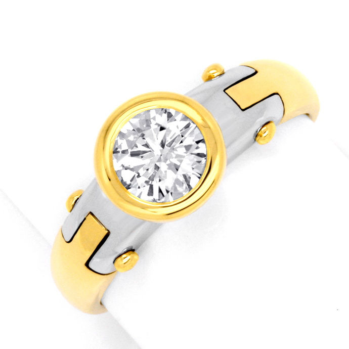 Design Diamantring 0,75 Brillant 18K Gelbgold Weissgold, Designer Ring
