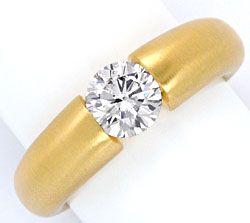 Foto 1, Einkaräter Diamant Spannring 1,06 Brillant 18K Gelbgold, R1108