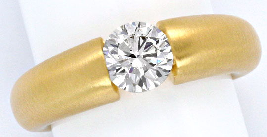 Foto 2, Einkaräter Diamant Spannring 1,06 Brillant 18K Gelbgold, R1108