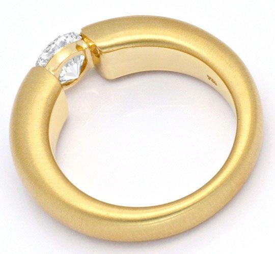 Foto 3, Einkaräter Diamant Spannring 1,06 Brillant 18K Gelbgold, R1108