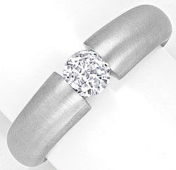 Foto 1, Diamant Spann Ring 0,36ct Brillant River, 18K Weissgold, R1152