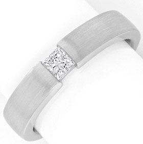 Foto 1, Diamant Spannring Eckig Princess Schliff 18K Weiss Gold, R1172