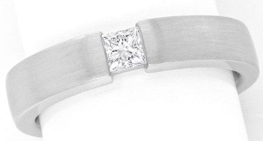 Foto 2, Diamant Spannring Eckig Princess Schliff 18K Weiss Gold, R1172