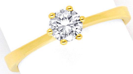 Foto 2, Solitär Diamant Krappen Ring 0,42 Brillant 18K Gelbgold, R1178