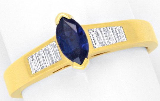 Foto 2, Diamant Ring, Safir Navette, Diamant Baguetten Gelbgold, R1179