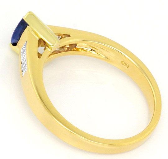 Foto 3, Diamant Ring, Safir Navette, Diamant Baguetten Gelbgold, R1179