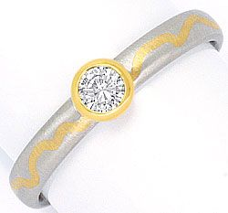 Foto 1, Platin Gold Brillant Diamant Ring 0,16ct River VVS1 IGI, R1229