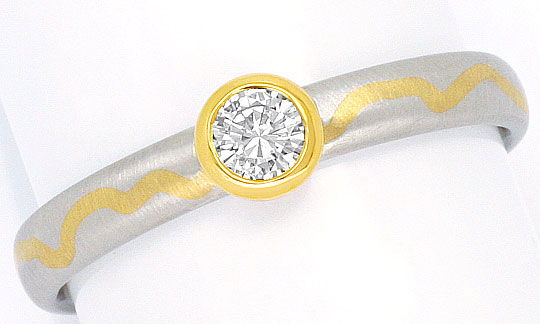 Foto 2, Platin Gold Brillant Diamant Ring 0,16ct River VVS1 IGI, R1229