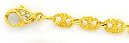 Foto 3, Schiffsanker Bohnen Marina Halskette Diamantenkarabiner, R1324
