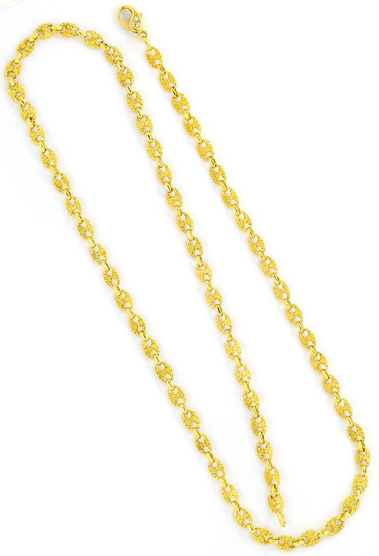 Foto 4, Schiffsanker Bohnen Marina Halskette Diamantenkarabiner, R1324