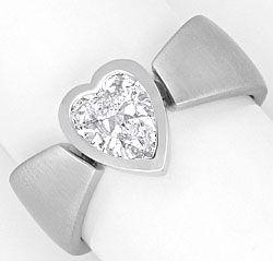 Foto 1, Herzdiamant Ring 0,94 Solitaer Handarbeit 18K Weissgold, R1374