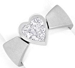 Foto 1, Herz Diamantring 0,98 Herzschliff, 18K Weissgold massiv, R1375