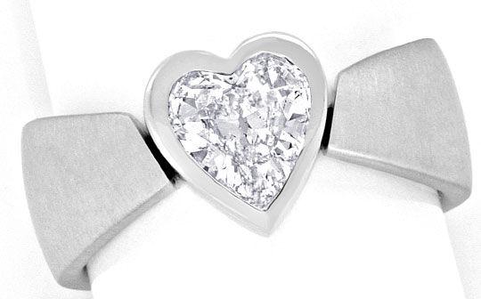 Foto 2, Herz Diamantring 0,98 Herzschliff, 18K Weissgold massiv, R1375
