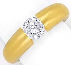 Foto 1, Diamant Spann Ring 1,04 ct Brillant massiv 18K Gelbgold, R1376