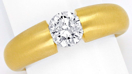 Foto 2, Diamant Spann Ring 1,04 ct Brillant massiv 18K Gelbgold, R1376