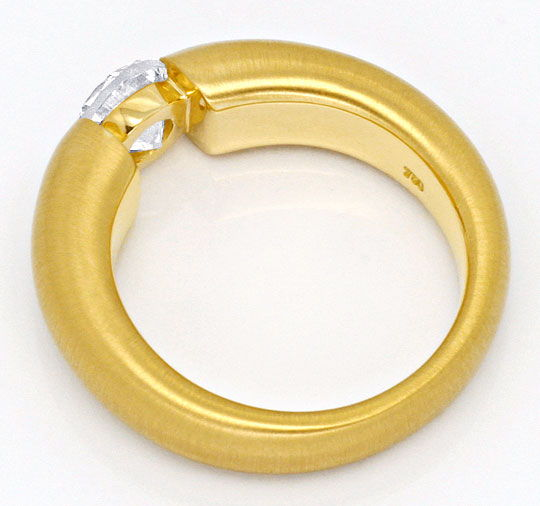 Foto 3, Diamant Spann Ring 1,04 ct Brillant massiv 18K Gelbgold, R1376