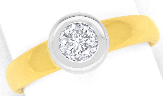 Foto 2, Brillant Diamant Ring 0,57 Wesselton Gelbgold Weissgold, R1377