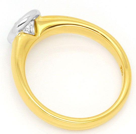 Foto 3, Brillant Diamant Ring 0,57 Wesselton Gelbgold Weissgold, R1377