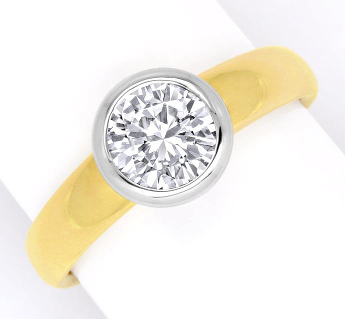 Foto 2 - Diamant Solitär Ring 1,03ct Brillant Gelbgold Weissgold, R1378