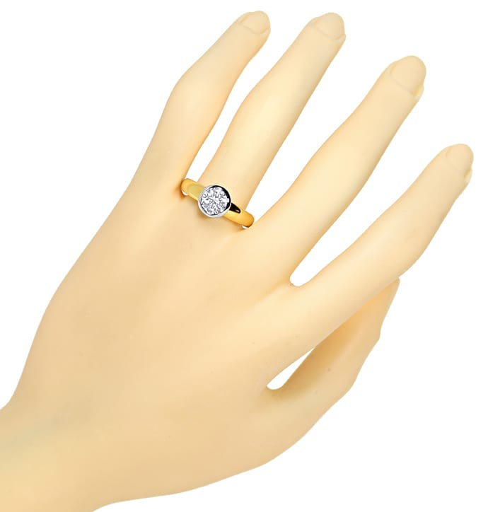 Foto 4 - Diamant Solitär Ring 1,03ct Brillant Gelbgold Weissgold, R1378
