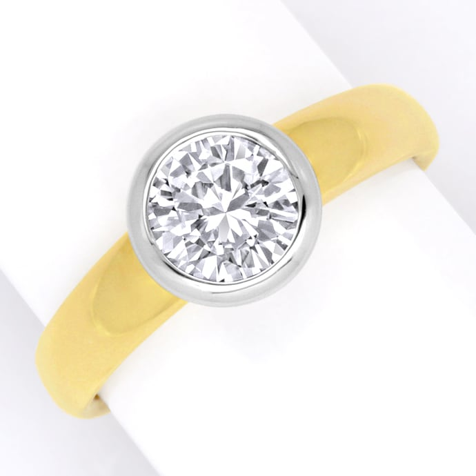 Diamant Solitär Ring 1,03ct Brillant Gelbgold Weissgold, Designer Ring