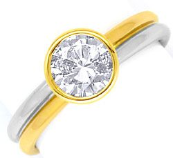 Foto 1, Diamantring 1,01 River D Diamantsolitär Platin Gelbgold, R1379