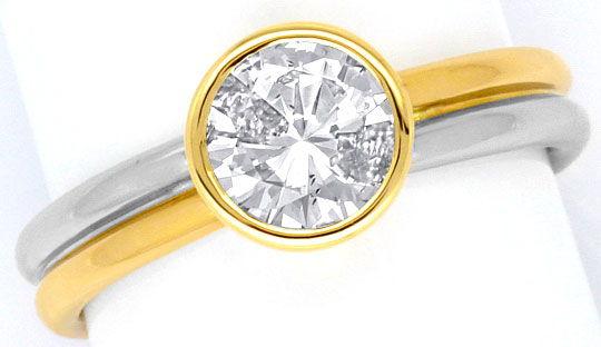 Foto 2, Diamantring 1,01 River D Diamantsolitär Platin Gelbgold, R1379