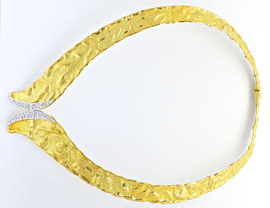 Foto 1, Designer Brillant Kollier massiv Rohgold Design Collier, R1427