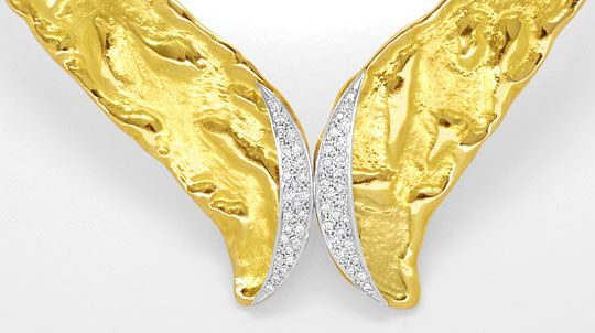 Foto 2, Designer Brillant Kollier massiv Rohgold Design Collier, R1427