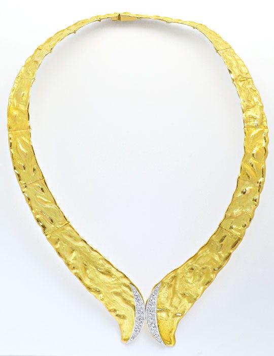 Foto 5, Designer Brillant Kollier massiv Rohgold Design Collier, R1427
