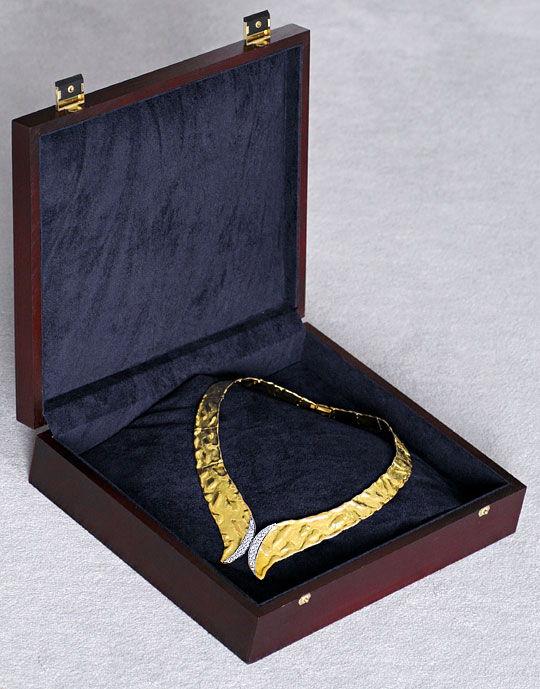 Foto 6, Designer Brillant Kollier massiv Rohgold Design Collier, R1427