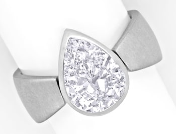 Foto 1, Tropfen Diamant 2,30ct in 18K Weissgold Ring Handarbeit, R1442